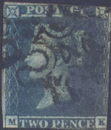 1841 2d Blue SG14 Plate 3 'ME' No.4 in MX